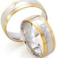 Weißgold Kombination, Ehering, Trauring Zweifarbig
